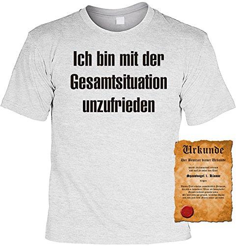 Witziges Spaß-Shirt + gratis Fun-Urkunde: Ich bin mit der Gesamtsituation unzufrieden Grau