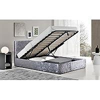 Berlin Stahl gecrushter Samt Kleines Doppelbett Bett mit Bettkasten - preisvergleich