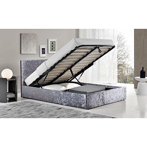 Berlin Stahl gecrushter Samt Kleines Doppelbett Bett mit Bettkasten