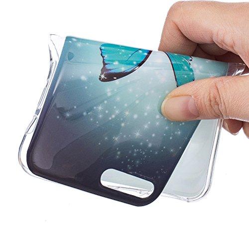 Custodia per iPhone 7 Plus 5.5,Cover per iPhone 7 Plus 5.5 Silicone,BtDuck Ultra Slim Creativo Nottilucenti Luminoso Flessibile TPU Morbido Silicone Protettiva Cassa Trasparente Fiore Design Crystal C #11