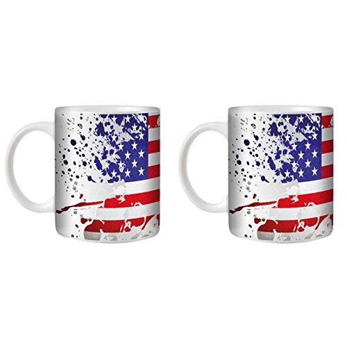 STUFF4 Tazza di Caffè/Tè 350ml/2 Pack Americano/Bandiera Splat Paese/Ceramica Bianca/ST10