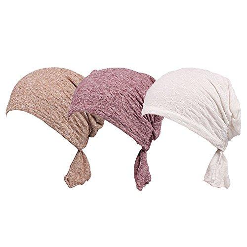 Ever Fairy 3 Farben Packung gebunden Kopf Schal Hut ethnisch Aufdruck Turban Kopfbedeckung Damen Stretch Blume Muslime Kopftuch - 3 Stück g, One Size Stretch-hut