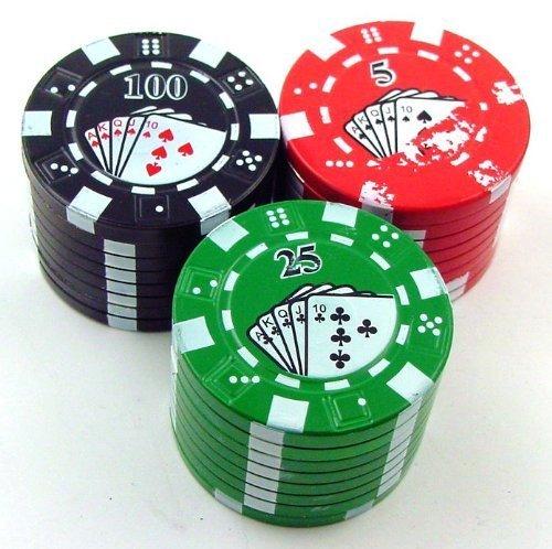 Poker Chip Grinder Mit Pollen Catcher, Farbe kann variieren (Grinder Kann)