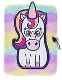 FRINGOO®, agenda di peluche 3D per ragazzi e ragazze, formato A5, con lucchetto e segnalibro, design a forma di tenero unicorno, 80 pagine (lingua italiana non garantita) A5 White Unicorn