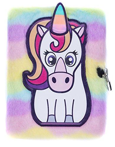 Las niñas niños peluche A5cuaderno diario 3D Fringoo® con candado y marcapáginas, diseño de unicornio de felpa, con 80páginas, color White Unicorn A5