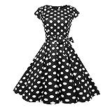 Kword Abito A Vita Alta con Stampa Retro Punto Donna, Abito da Festa Stile Anni '50 Audrey Hepburn,Mini Abito da Partito di Sera,Vestito Elegante Manica Corta (Nero, S)