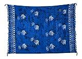 Kascha Sarong Pareo Wickelrock Strandtuch Tuch Wickeltuch Handtuch - Blickdicht - ca. 170cm x 110cm - Türkis Blau Batik mit Fisch Motiv Handgefertigt inkl. Kokos Schnalle in runder Form