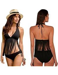 Bikini mujer borla conjunto, QinMM push up sujetador acolchado traje de baño de natación