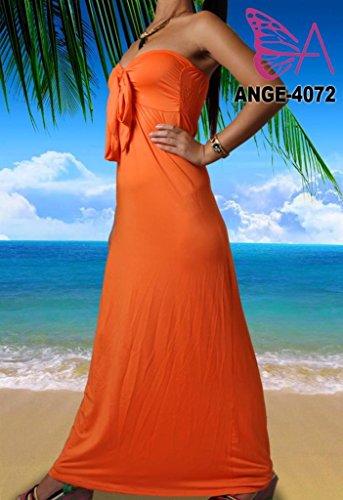 Angela, Femmes Vibrant Clair Bandeau Sans Bretelles Nœud Maxi Vacances Été Couleur Unie Robe Orange