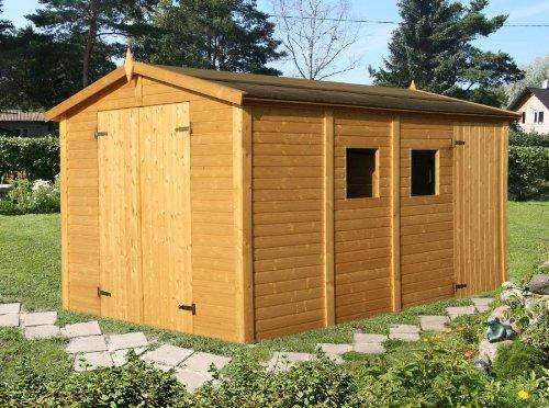 Box Casitas de madera caseta de jardín de madera de abeto 16mm-10mq-205X 175,5h