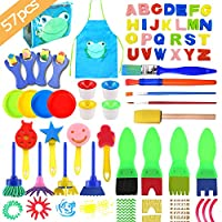 uBook 57 Pack Kids Painting Set Sponge Painting Brushes Include Kids Painting Apron Painting Pots Painting Palette