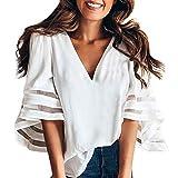 Damen Blusen Basic V-Ausschnitt Top Horn Hülse Hemd Chiffon 5 Farbe S/M/L/XL/XXL von Innerternet