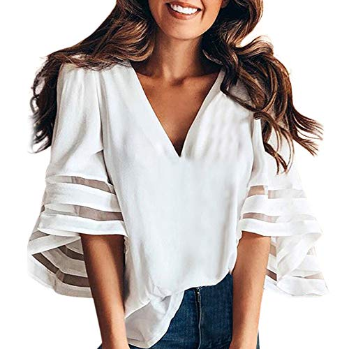 Damen Kurzarm T-Shirt Reizvolle V-Ausschnitt Spaghetti Sommer Elegant Shirt Unregelmäßige Oversize Oberteile Pullover Blusen(Weiß,L3)