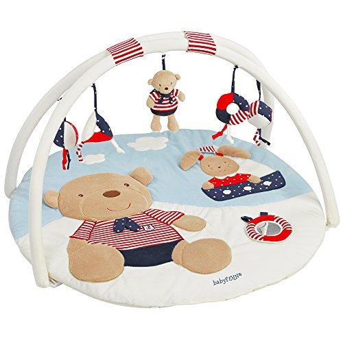 Fehn 078220 3-D-Activity-Decke Teddy - Spielbogen mit 5 abnehmbaren Spielzeugen für Babys Spiel & Spaß von Geburt an - Maße: Ø85cm (Gym Baby)