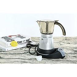 Super-Automatische Kaffeemaschine Thermische Kaffeemaschine Tragbare Single-Serve Kaffeemaschine in Küche Silber Acryl Maschine Körper 5-Cup, 300 ml (Farbe : Silber)