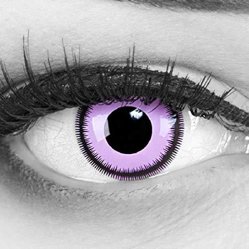 (Funnylens 1 Paar farbige rosa pink lila schwarze crazy fun Jahres Kontaktlinsen purple lunatic mit schwarzem Rand 1 Paar Topqualität zu Fasching und Karneval mit gratis Kontaktlinsenbehälter ohne Stärke!)