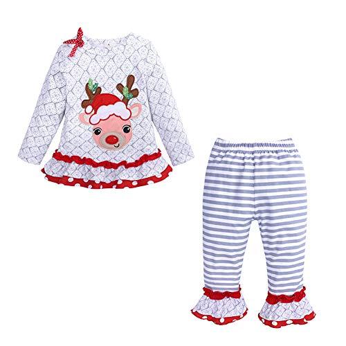 Baby Mädchen Weihnachten Prinzessin Kleid Cartoon Tiere Lange Ärmel/Kurzarm T-Shirt Jerseykleid mit Streifen Crewneck Kleid (18-24 Monate, 2 Stück) -