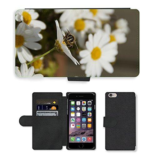 Just Mobile pour Hot Style Téléphone portable étui portefeuille en cuir PU avec fente pour carte/fleurs/insectes m00138640sur insectes margherite//Apple iPhone 6Plus 14cm