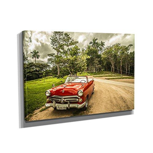 Nerdinger Vintage Car Cuba - Kunstdruck auf Leinwand (90x60 cm) zum Verschönern Ihrer Wohnung. Verschiedene Formate auf Echtholzrahmen. Höchste Qualität.