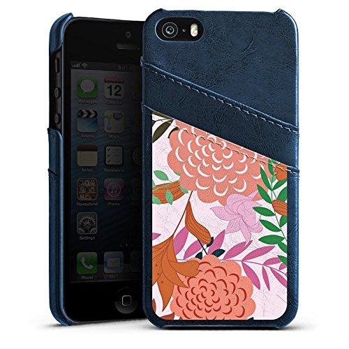 Apple iPhone 6 Housse Étui Silicone Coque Protection Fleurs Fleurs Motif Étui en cuir bleu marine