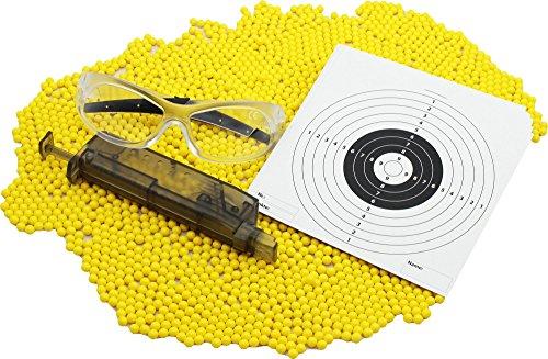 Softair Starterpaket mit 5000 UMAREX Kugeln, 20 Zielscheiben, Schutzbrille und Speedloader (Köche Kugel)