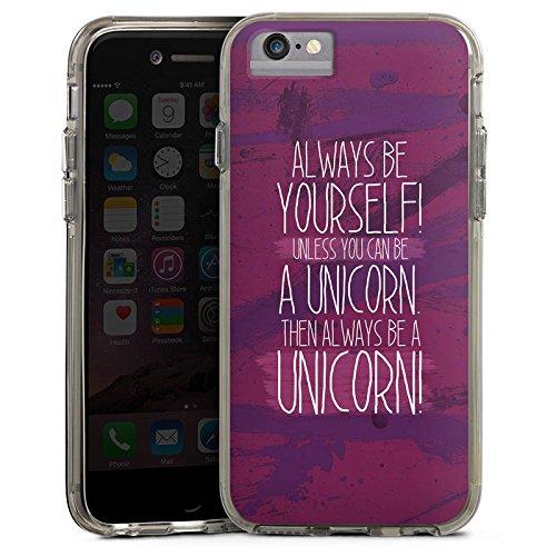 Apple iPhone 6 Bumper Hülle Bumper Case Glitzer Hülle Einhorn Unicorn Lustig Bumper Case transparent grau