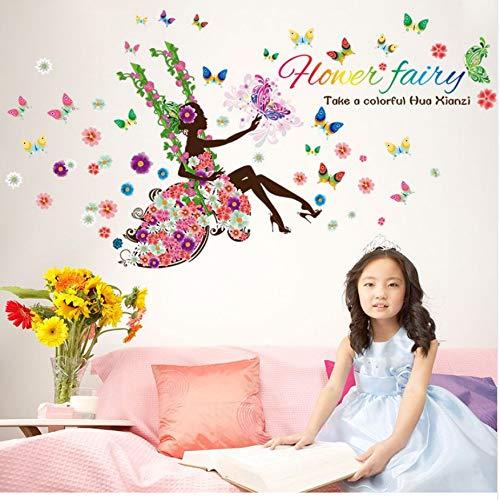 WFYY Fee Haus Wandaufkleber Eine Blume Mädchen Schaukel Schmetterling Wandkunst Aufkleber Für Kinder DIY Wandbild Kindergarten PVC Decor