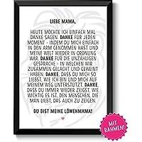 Löwenmama Geschenkideen Muttertag Geburtstag, persönliches Muttertagsgeschenk Geburtstagsgeschenk Frauen mit Rahmen in A4