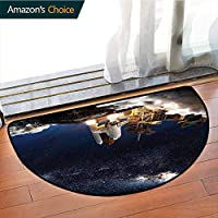 DESPKONMATS Outer Space Traditional Printed Semi-Circular Carpet, Spiral Starburst Design Bedroom Kitchen Living Room Area Rug, Phthalate Free, Rugs for Office Stand Up Desk, Half Circle-