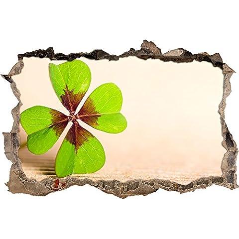 svolta Four Leaf Clover muro in look 3D, parete o in formato adesivo porta: 92x62cm, autoadesivi della parete, autoadesivo della parete, decorazione della parete - Four Leaf Clover Regalo