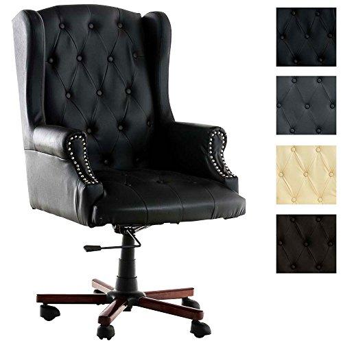 Clp sedia da ufficio oklahoma in similpelle - poltrona da ufficio imbottita oscillante | poltrona presidenziale girevole e regolabile in altezza i sedia da scrivania con braccioli nero