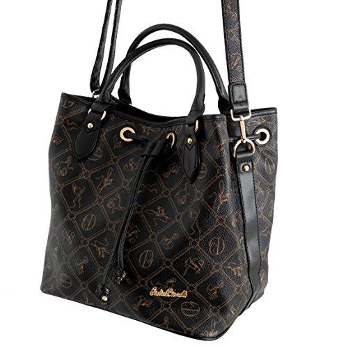 Giulia Pieralli Damen Handtasche All-over Muster Print Glamour Damentasche Umhängetasche Henkeltasche XXL Bag - präsentiert von ZMOKA® in versch.Farben (Coffeebeige) Schwarz