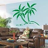 WANDTATTOO / Wandsticker w430 Palme Baum Pflanze Wandaufkleber 120x101cm, gruen