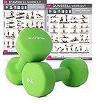 KG Physio Neopren Hanteln Gewichte | 2er Set | A3 Poster Enthalten (hellgrün)