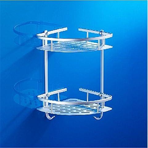 Modylee accesorios de ducha estante doble cuarto de baño esquina cesta estante mueble de baño de aluminio del espacio montado en la pared ,