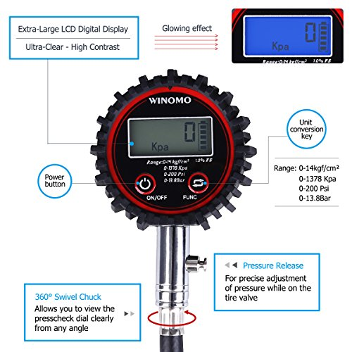 WINOMO Manómetro Medidor Digitales de Presión de Neumáticos 200 PSI con Pantalla LCD para Motocicletas Coche