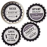 Set of 4 Ceramic Black & White Beer Cap Coasters Bar Drinks Mats Tablemats Funny