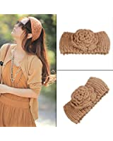 Tinxs Brown Ladies Fashion Warm Head Band Flower Head Wrap Ear Warmer