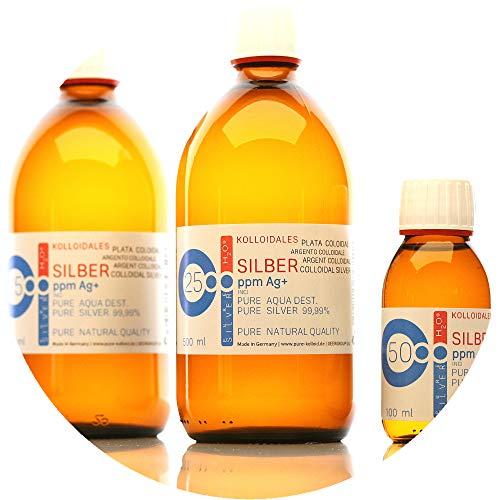 PureSilverH2O 1100ml kolloidales Silber (2X 500ml/25ppm) + Flasche (100ml/50ppm) Reinheit & Qualität seit 2012 preisvergleich