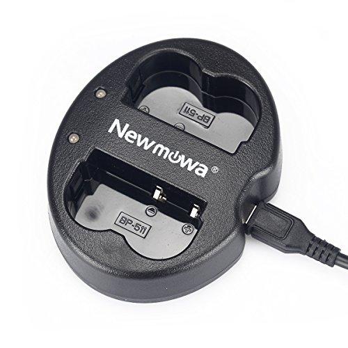 Newmowa Ultradünnes USB Ladegerät für Canon BP-511 BP-511A Canon EOS 5D 10D 20D 30D 40D 50D Digital Rebel 1D D60 300D D30 Kiss Powershot G5 Pro 1 G2 G3 G6 G1 Pro90 (Ladegerät Usb Pack Batterie)