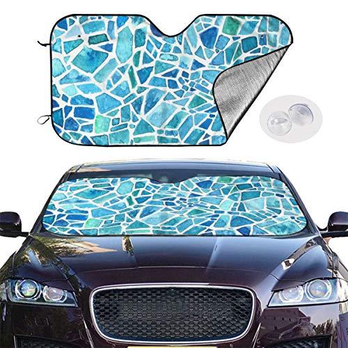 Aquarell Mosaik Blaues Kaleidoskop Geometrisches Muster Draußen Selbstwindschutzscheiben Sonnenschutz Druckte Anzug für Auto SUV LKW 55×29.9 Zoll -