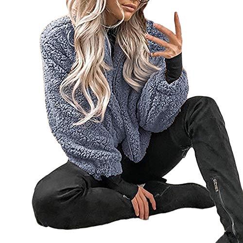 Luckycat Damen Winter Übergröße Mantel Damen Borg Reißverschluss Kunstpelz Jacke Taschen Warm Coat Jacken Mäntel Sweatjacke Winterjacke Fleecejacke Steppjacke
