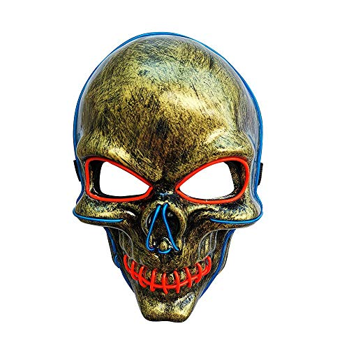 SOUTHSKY LED Mask Schädel Maske Skull Full Face Mask EL Wire Glow 2 Colors 3 Modes for Halloween Costume Cosplay Party (Blau+Rot) (Blau+Rot)