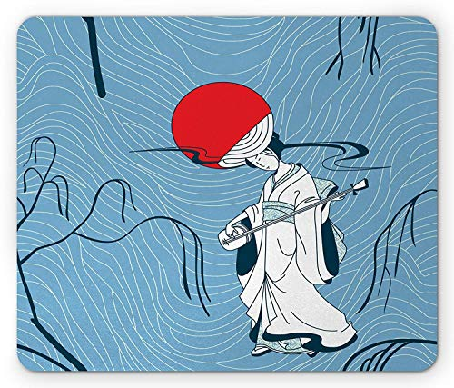 apan Girl in Kimono Dress Playing Music Ancient Traditional Musical Instrument Gaming Mousepad Office Mouse Mat Blue White Red ()