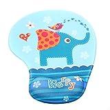 TUKA Handgelenkauflage Mouse pad Ergonomische, mit Gel Gefüllte Handgelenkunterlage, Tier Motiv Gel Mauspad Handauflage, mit Lustigem Cartoon Motiv, TKC5100 elephant