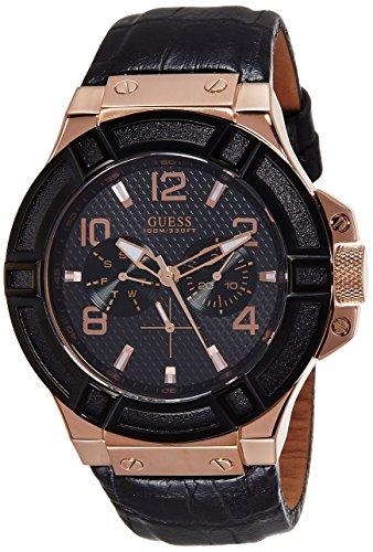 Guess W0040G5 - Reloj para hombre con correa de piel color negro