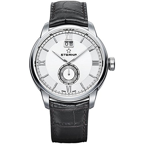 Eterna Men's Adventic 41mm Black Leather Band Steel Case Quartz Silver-Tone Dial Watch 2971-41-66-1327