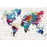 decomonkey Fototapete selbstklebend Weltkarte bunt Ziegel weiß 245x175cm Selbstklebende Tapeten Fototapeten Tapete Wandtapete klebend Klebefolie Lankarte Kontinent Welt Karte Steinwand Steinmauer