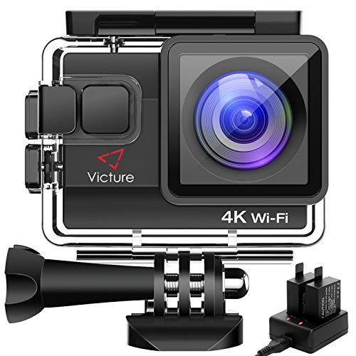 Action Cam 4K WIFI 20MP Victure Wasserdicht 30M Unterwasserkamera Ultra Full HD Sport Action Kamera mit Ladegerät 2 Akkus und Gratis Zubehör (4k Pro Camcorder)