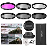 Neewer® 52MM Professionelle Kamera Filter Zubehörsatz Set für Nikon D3300 D3200 D3100 D3000 D5300 D5200 D5100 D5000 D7000 D7100 DSLR-Kamera, Set umfasst: (1) 52mm Filter Set (UV, CPL, FLD, ND2, ND4, ND8) + (1) Tulpen Gegenlichtblende + (1) Zentrum Klemm Objektivdeckel + (1) Kappe Wächter Leine + (1) Filter Tragetasche + (1) Mikrofaser Reinigungstuch